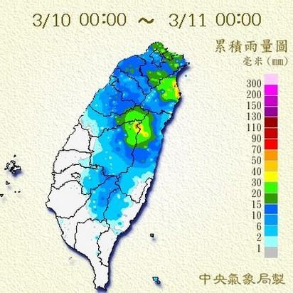 春寒雨泉到週四 | (圖一)10日累積雨量