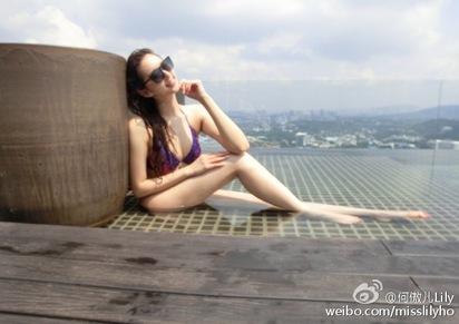 差51歲爺孫戀 富商砸錢女星回頭 | 何傲兒,日前在微博秀出於馬來西亞度假的泳池火辣身材照