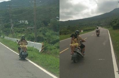 驚悚! 黃衣小女孩 任性背坐機車嚇壞路人 |