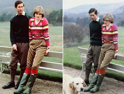 和黛妃一樣的! 人氣公主收到粉紅小雨靴 | 黛安娜王妃1981年 (右)與查爾斯王子訂婚時,在蘇格蘭穿著HUNTER靴留下的雋永畫面.