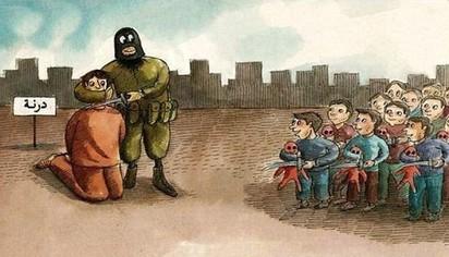 這是教育? IS孩童校外教學 看砍頭… | 一利比亞漫畫家發佈的漫畫,懵懂的孩子跟著大人學砍頭(英國每日郵報)