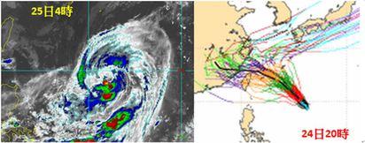 杜鵑侵台否? | 左圖:25日4時紅外線衛星圖顯示,「杜鵑」高低層分離的現象已消失,代表其環境的垂直風切減小,再加上海洋熱含量(OHC)略偏暖,未來仍會逐漸增強,不排除跨過「中颱」的門檻。 右圖:24日20時歐洲中期預報中心的「系集」模擬資料顯示,「杜鵑」大致朝西北,再轉西北西,逐漸接近台灣,離得最遠的是在琉球附近迴轉(數量少代表機率低),離得近的則通過北部海面甚至登陸台灣(數量多較密集代表機率較高)。