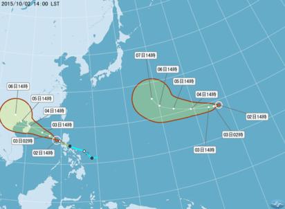 繼彩虹後輕颱彩雲生成 估朝日本前進 | 翻攝中央氣象局