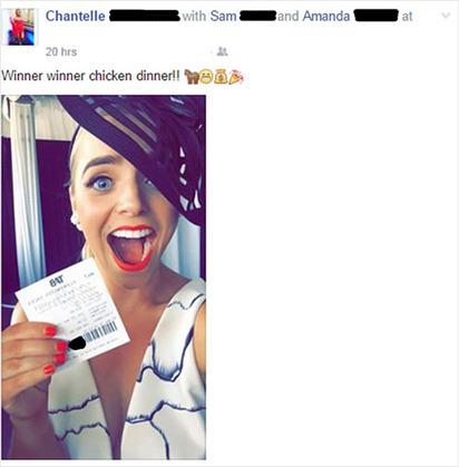 彩券PO臉書15分鐘! 萬元獎金竟飛了… | 仙黛兒在臉書PO出與彩券的合照,短短15分鐘就被盜領(翻攝每日郵報))