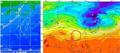 【老大洩天機】北濕冷南乾爽 | 左圖:6時30分紅外線衛星圖顯示,鋒面雲系在北部海面,中、低雲影響到馬祖,有雨、有霧能見度不佳。北台灣雲量增多。右圖:歐洲中期預報中心第三天(26日20時)的電腦模擬資料顯示,中層大氣皆屬西風,僅有小波動(紅圈)能帶來的北風很弱,不利強冷空氣南下。