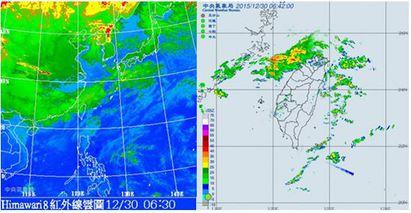 【老大洩天機】雲遮曙光跨年冷 | 左圖:30日6:30紅外線衛星圖顯示,中層雲系從華南移出,已抵達台灣北部。右圖:6:42雷達回波合成圖顯示,降水回波東移即將進入台灣北部上空。