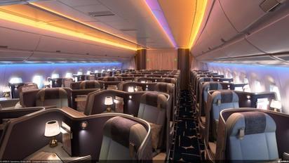 【影片】華航機隊年輕化 A350四大優勢全新起飛   華航A350客艙配置306個座位共三個艙等,包括32席豪華商務艙、31席豪華經濟艙及設有親子臥艙的243席經濟艙。圖為華航A350豪華商務艙。