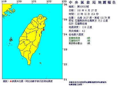 宜花搖不停! 花蓮深夜連6震 最大規模5.6 | 晚間11點32分發生規模4.2地震(翻攝中央氣象局)