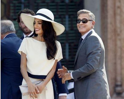 走過破產這關 喬治克隆尼的人生大轉變   前年高調再婚「英國最美律師」愛茉艾蘭沐汀。(圖片:美聯社)