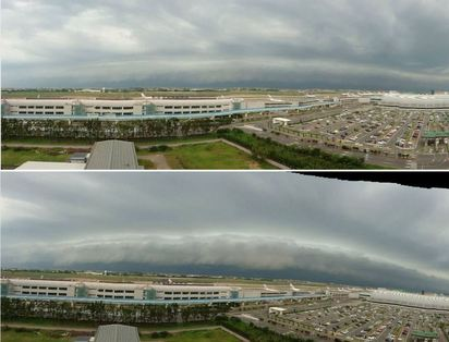 【更新】北北基桃 大雷雨警報提升至豪雨 | 鄭明典分享「風暴前導雲」照片.告訴大家「要下大雨了」(圖片來源:鄭明典臉書)