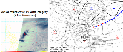 21號颱風莎莉佳 形成後關注「共伴效應」   左圖:今(13日)晨1:15微波頻道(89GHz)可以解析冰晶分布的特性,勉強可以觀測出環流中心,但在一般紅外線衛星雲圖是觀察不到的。(取自Rammb) 右圖:2010年10月20日20時地面圖顯示,「梅姫」剛通過呂宋島,輸送暖溼大氣,逢東北季風南下,形成滯留鋒,向西南西延伸至北台灣,共伴作用給東北部帶來大量降雨。