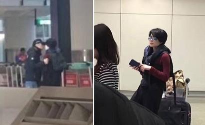 拍到了! 謝霆鋒王菲合體香港機場啾咪2次 | 謝霆鋒把臉湊進王菲,送上親吻。