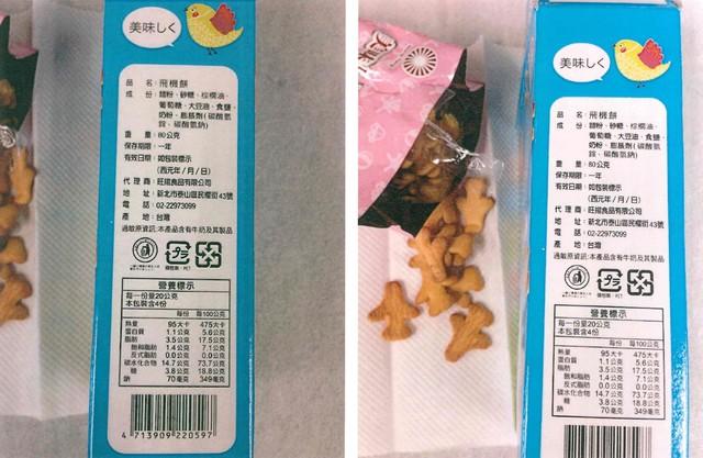 「飛機餅」及「彩繪戀星星糖」2件產品,檢出可使用的著色劑食用黃色4號、5號,卻沒有在外包裝成分欄標示。(食藥署提供)