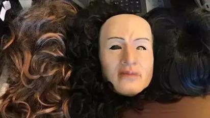 學台灣本土劇?! 強國男戴人皮面具詐騙   戴著人皮面具犯案