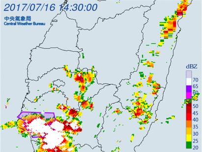 高屏7縣市大雨特報 台南提防大雷雨   大雷雨。