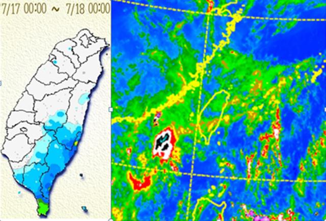 左圖:昨(17)日雨量圖顯示,台灣東南方的雲層在移入時,造成迎風面(花蓮、台東及高、屏)降雨,雲層移入背風面時減弱,只剩一些中層雲,遮蔽地表加熱,反而破壞午後對流的發生。 右圖:今(18日)晨3:50紅外線雲圖顯示,台灣上空仍有很多消散中的中高雲,天亮後仍將持續消散,各地感受上都是晴朗的。