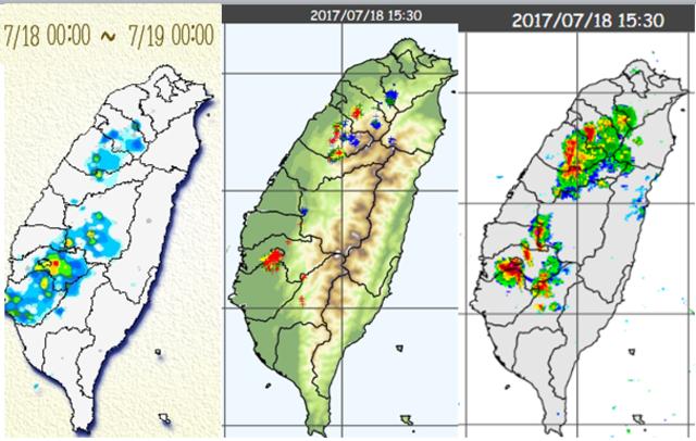 左圖:昨(18)日雨量圖顯示降雨侷限在山區及鄰近的平地,有小範圍的「瞬間大雨」。 中圖:昨(18)日15:30閃電偵測圖顯示,落雷頻繁、對流強度不弱,但單胞的雷雨胞壽命短、累積雨量及影響範圍就比較有限。 右圖:昨(18)日15:30雷達回波合成圖顯示,強回波的分布與5分鐘內(紅色)閃電密集區較穩合,超過30分鐘之前(藍色)的閃電密集區,則無強回波與之對映,因雷雨胞已進衰減期而消散。