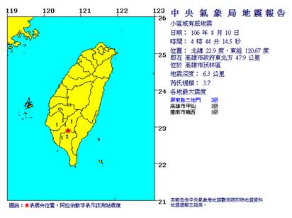 清晨2地震 花蓮4.6 高雄3.7 | 高雄地震。