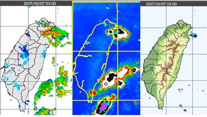 美加預測熱帶擾動恐成颱 吳德榮:持續觀察 | 左圖:7日3時雷達回波圖顯示,強降水回波移入東北部;另外,東南部外海亦有回波存在。 中圖:7日3時紅外線衛星雲圖顯示,相對位置上對流雲頂溫度低,代表對流發展高度很高。 右圖:7日3時閃電偵測顯示,宜蘭陸地及近海有密集的閃電。