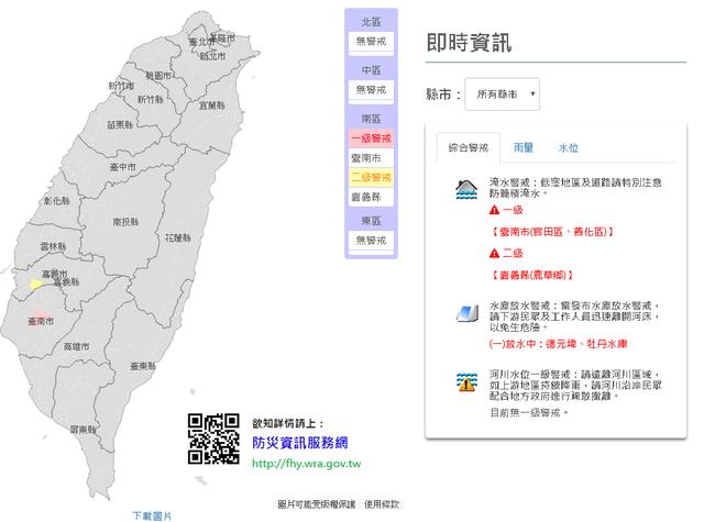 9縣市大雨特報 台南官田.善化1級淹水警戒 | (翻攝水利署)