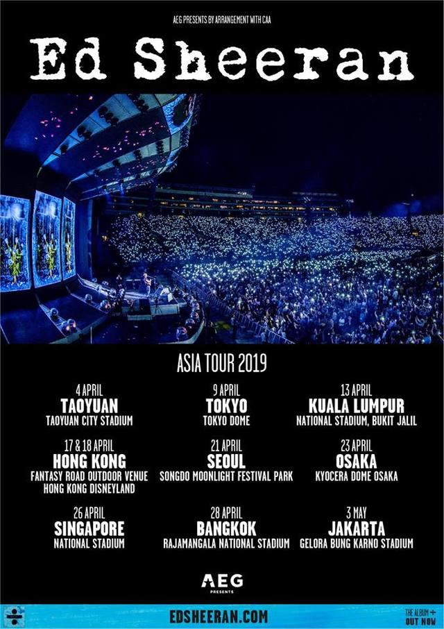 紅髮艾德亞洲巡迴演唱會場次公布。(翻攝自臉書AEG Presents)