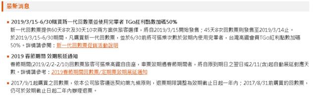 2019/3/15-6/30購買新一代回數票並使用完畢者 TGo紅利點數加碼50%。(翻攝自台灣高鐵官網)