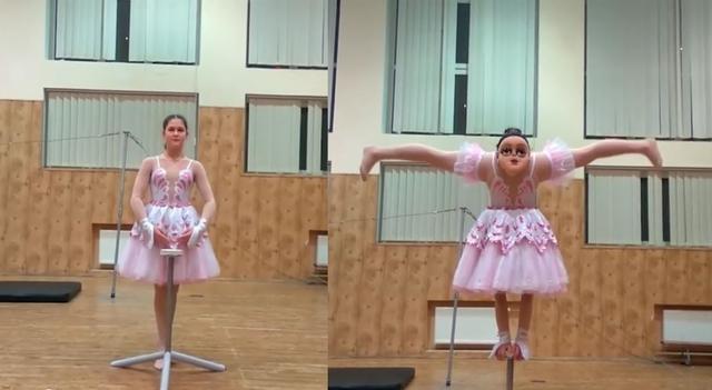 芭蕾舞者劈腿特技 裙底秘密嚇翻網友 | 裙子裡竟藏著一張「人臉」,嚇壞一票網友。(翻攝每日郵報)