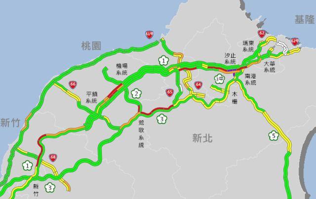 連假次日車潮湧現 國1內湖-汐止塞爆   (翻攝高公局網站)