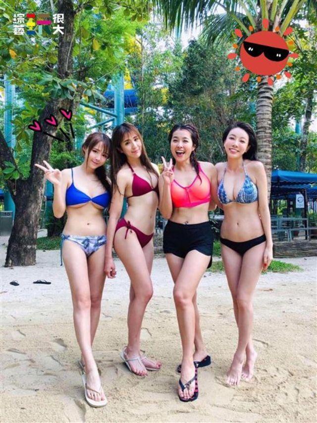元元、潘映竹、小嫻、邵岱兒4位正妹穿著比基尼。(翻攝臉書)