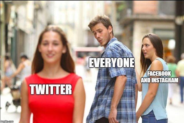 因臉書和ig掛掉的網友,自製哏圖嘲諷。(翻攝推特)