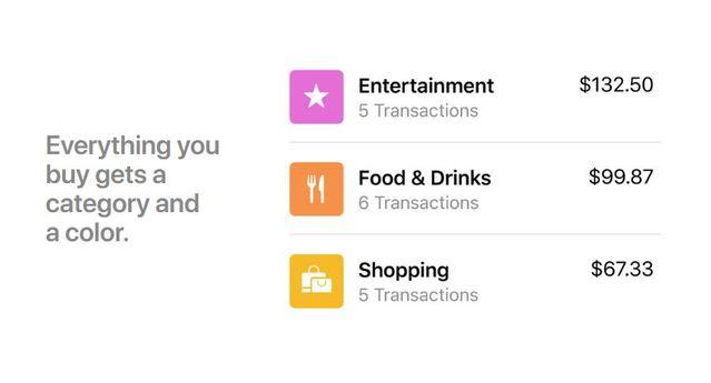 Apple Card支出以分類分色處理,一目了然。(翻攝自Apple官網)