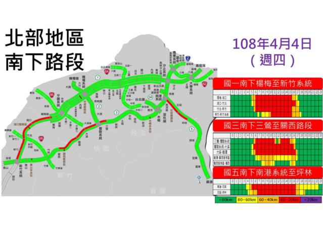 4日北部南下國道預估車流。(翻攝高公局)