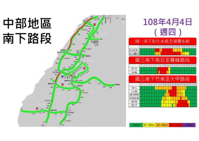 4日中部南下國道預估車流。(翻攝高公局)