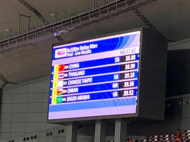 中國隊原先奪得金牌,因踩線違規遭到抗議,經過大會確認後被取消資格。(圖/中華台北田徑協會FB)