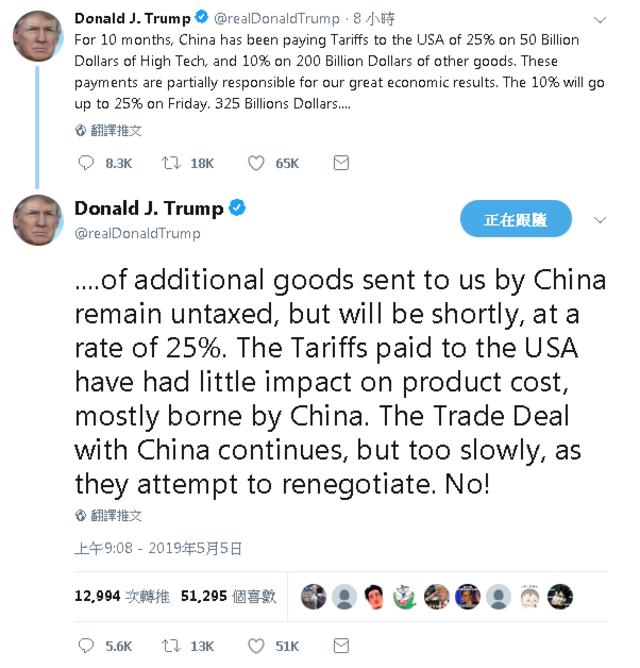 嫌貿易談判太慢! 周五川普對2000億中國商品加稅至25% | (翻攝川普推特)