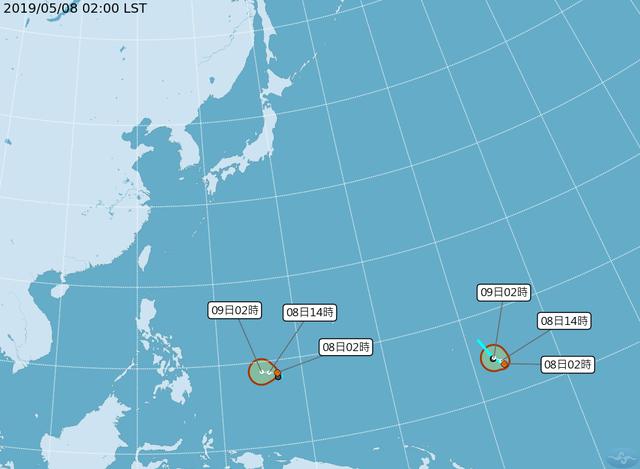 東北風減弱雨勢緩 2熱帶性低氣壓生成 | 氣象局指出太平洋上有2個熱帶低壓生成。(中央氣象局提供)