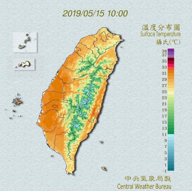 大片對流雲系移入 高屏恆春半島留意瞬間大雨 | 氣象局發布高溫資訊。(中央氣象局提供)