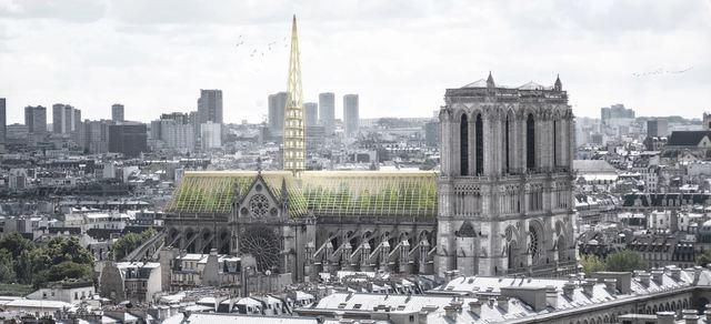 Studio NAB公司提議,將巴黎聖母院屋頂改成巨大溫室。(翻攝自Studio NAB網頁studionab.fr)