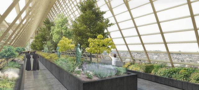 巴黎聖母院重建計劃 創意發想蓋空中泳池!?   Studio NAB公司提議,將巴黎聖母院屋頂改成巨大溫室。(翻攝自Studio NAB網頁studionab.fr)