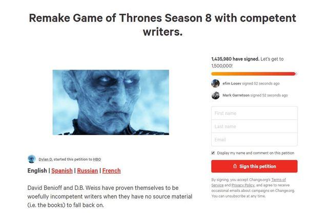 目前已有超過140萬觀眾連署要求製作單位將《權力遊戲》第8季重拍。(圖/change.org)