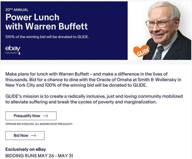 第20屆「與巴菲特共進午餐」已在ebay網站上架拍賣。(圖/ebay)