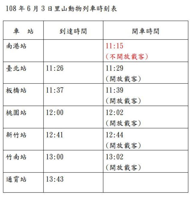 里山動物列車時刻表。(圖/林務局提供)