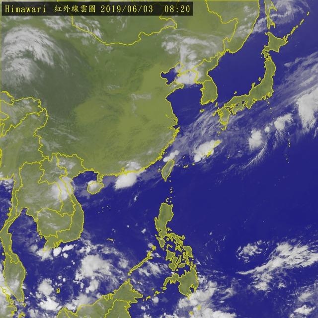 颱風季恐提早 活躍期就在6月下旬 | 台灣2019年6月3日衛星雲圖。(翻攝自交通部中央氣象局)