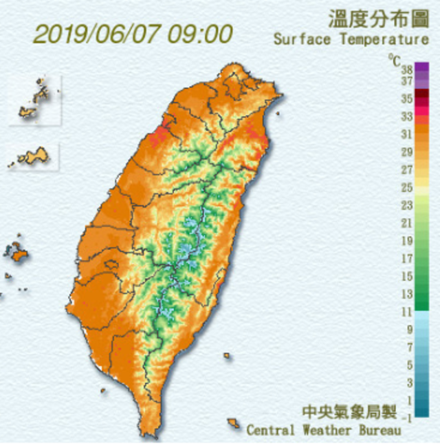 各地高溫普遍在32至35度。(氣象局提供)