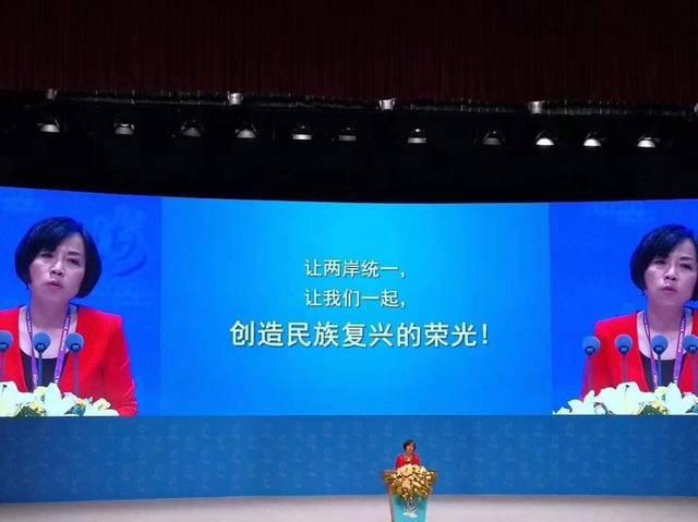 台灣媒體人黃智賢在場發表演說,並說提出一國兩制是「對台灣最大的尊重與體貼」。(圖/只是堵藍FB)