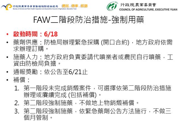 秋行軍蟲蔓延18縣市,18日起啟動「強制噴藥」防治。(圖/農委會防檢局提供)