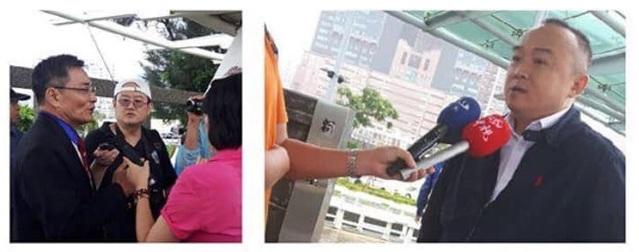 高雄市觀光局長潘恆旭(右)出席首航典禮。(翻攝臉書專頁「只是堵藍」)
