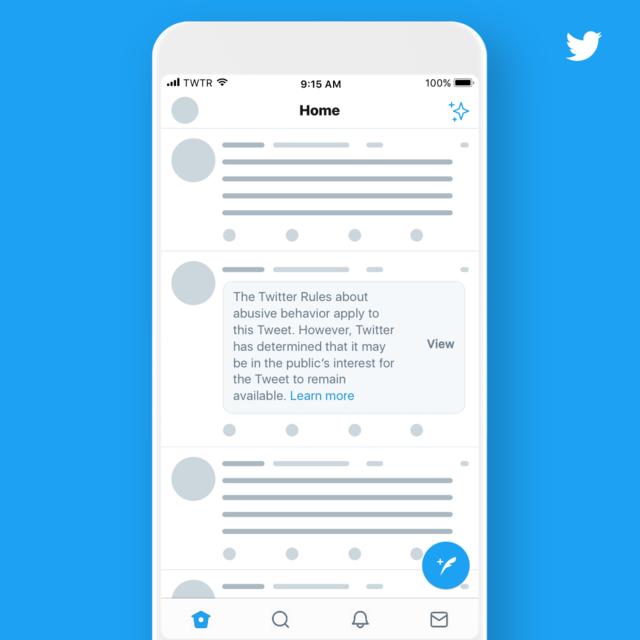 Twitter推新制 公眾人物發言違規將標註屏蔽 | 警告通知也會立即顯示在家庭時間表中以及搜索等其他區域(翻攝自推特官方網站)