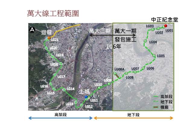 北捷萬大線二期 預計110年開工!   萬大線工程範圍圖(圖/北市捷運局提供)