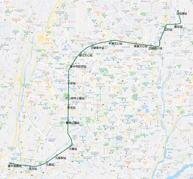 台中捷運綠線噪音擾民 交通局將啟動噪音改善措施 | (翻攝自Google Maps)